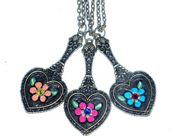 Painted Heart Necklace FREE SHIPPING Colorful Flower Hippie Boho Jewelry