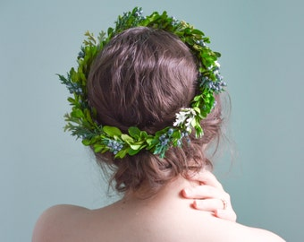 Flower crown, Woodland wedding hair accessories, Floral halo, Bridal wreath, Wedding headpiece, Natural crown - RAINE