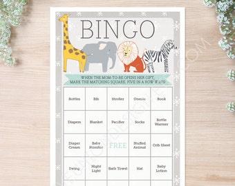 Zoo Animals Baby Shower Bingo   50 Unique Game Sheets   Baby Shower Games    Gender