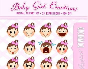 Clip Art Emotions Clipart emotions clipart etsy clip art cute baby girl with pink bow expressions smileys emoticons emojis for shower scrapbooking babies kids children