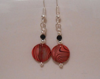 Small Bright Pink and Black Zebra Striped Round Beaded Earrings Item No. 263