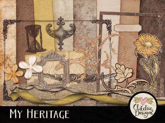 Vintage Digital Scrapbook Kit ClipArt My Heritage Vintage