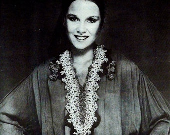 Caftan Collar Neckpiece Vintage Crochet Pattern Instant Download