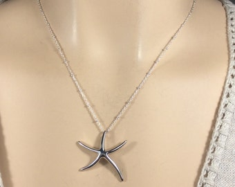 Sterling Starfish Necklace-Sterling fine beaded Chain-18 inches-Summer necklace-Beach necklace