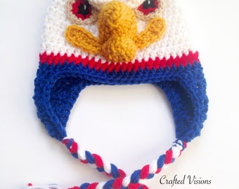 PATTERN** Crochet Eagle Hat Pattern, All Sizes, Newborn to Adult, Eagle Hat, Crochet Hat Patterns