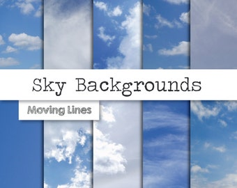 Sky Digital Paper, White Clouds, Blue Sky Background, Heaven 10 Printable Backdrop Papers, High Quality 300 dpi 10 JPG files