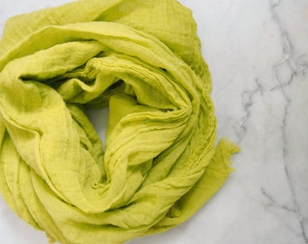 Chartreuse Scarf, Yellow Green Scarf, Yellow Scarf, Spring Green, Spring Summer Lightweight Cotton Gauze Scarf, Chartreuse Cotton Scarf