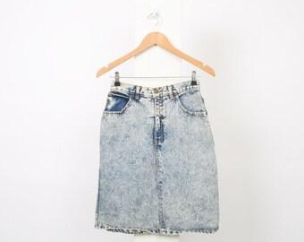 ACID WASH 80s Vintage DENIM Womens Au 8 10 Us 4 6 Light Blue Mid Waist Mini Cotton 90s Skirt