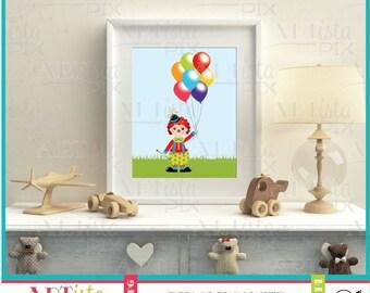 Nursery Wall Art, Clown Wall Art, Circus Wall Art, Clown with balloons,