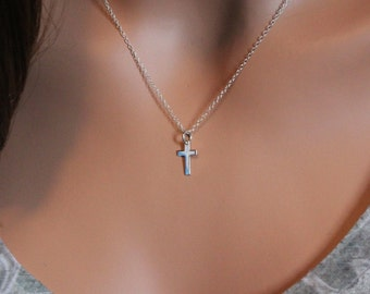 Sterling Silver Simple Cross Necklace, Cross Necklace, Sterling Silver Religious Necklace, Christian Cross Necklace, Simple Cross Necklace