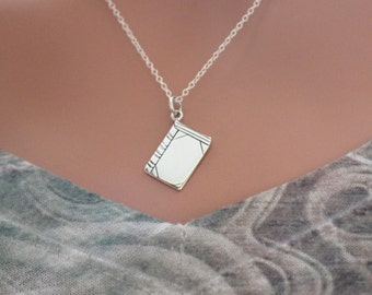 Sterling Silver Book Charm Necklace, Flat Book Lover Necklace, Gift For Bookworm, Bookworm Necklace, Silver Book Necklace, Book Pendant