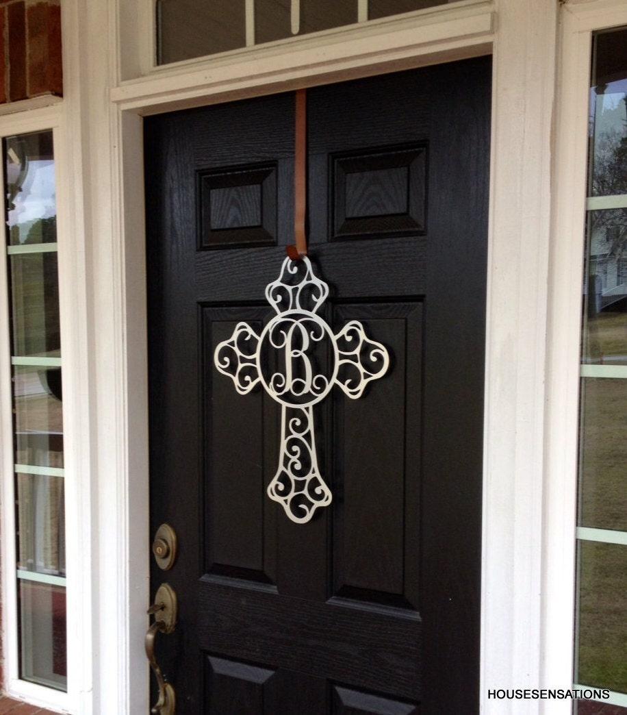Metal Cross Front Door Wreaths Monogram Door Hanger Initial