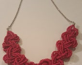 Pink beaded braided necklace - Pink seed bead braided silver chain 22in. Handmade necklace