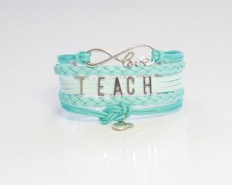 Love Infinity TEACH Apple Light Turquoise Cord Bracelet