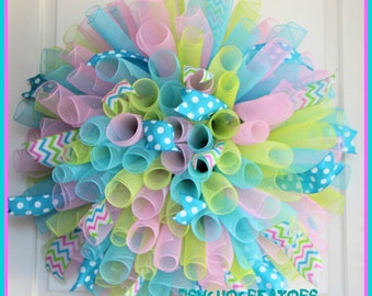 XL Pastel Curly Wreath – Multicolor Spiral Deco Mesh Wreath – Easter Spring Wreath - Summer Decoration
