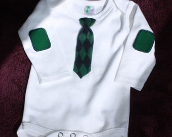 0-3 month Long Sleeve Necktie Bodysuit - Blue/Green