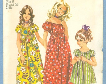 1971 Child's and Girls' Dress in Two Lengths Size 6 - Vintage Simplicity Sewing Pattern 9389