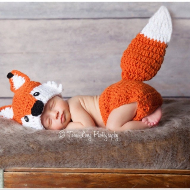 crochet fox outfit baby girl baby boy fox hat and diaper cover