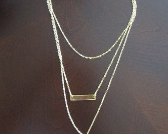 Minimal Necklace, Jewelry, Women's Necklace, Minimal Necklace, Muti-Chain, Tags, Layered Chains