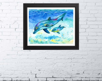 DOLPHIN ART | Dolphin Painting | Dolphin Print | Watercolor Dolphin | Nautical Home Decor | Beach Art Print Nursery Art Print Coastal Art