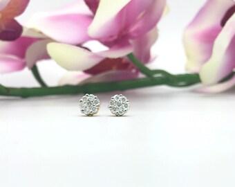 0.35CTW Diamonds Cluster/Flower Earrings in 14K Two Tone Gold