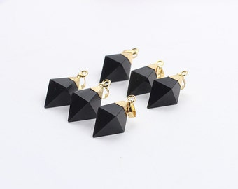 Black Onyx Pendants -- With Electroplated Gold Edge Agate Charms Wholesale Supplies YHA-100,MHA