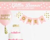 Happy Birthday Glitter Banner - Gold Glitter Birthday Banner - Glitter 1st Birthday Party Ideas -  Twinkle Twinkle Birthday (EB3062)