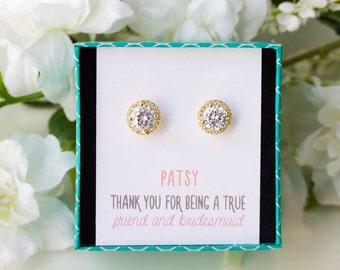 Personalized Bridesmaids Gift Bridesmaid Earrings Stud Earrings Mother of the Bride Gift Gold Earrings Bridesmaid Gift Simple Earrings E330G
