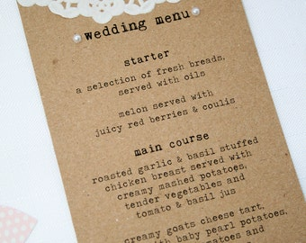 Rustic Doily and Pearl Wedding Menu - Recycled kraft finished with doily and pearl detialing