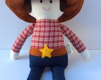 Cowboy doll, boy rag doll, handmade doll, cloth doll, boy gift, fabric doll