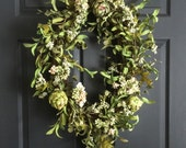 Artichoke Wreath with Berries, Blossoms, and Leaves | Spring Wreath | Front Door Wreaths | Summer Wreath | Oval Wreath | Natural-Looking