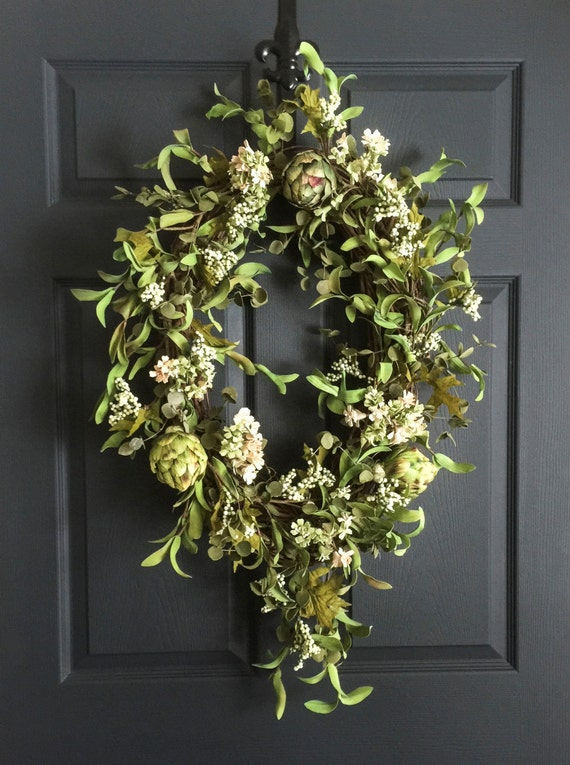 Oval Artichoke Wreath Summer Wreath Front Door Wreaths