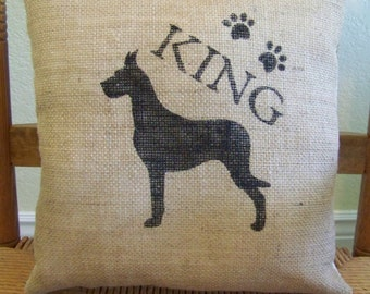 Great Dane pillow, personalized dog pillow, puppy pillow, pet pillow, dog silhouette pillow, burlap Pillow, stenciled pillow, FREE SHIPPING!