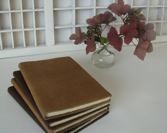 Basic notebook (A6 line) with brown leather cover-lines with brown leather notebook cover-write book line leather