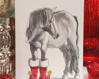 Horse in Boots Holiday Card