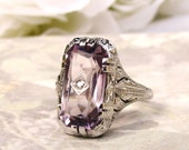 Antique Amethyst Art Deco Engagement Ring 18K White Gold Filigree Petite Diamond Wedding Ring Antique Alternative Engagement Ring Size 7