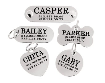 Dog Name Tag Personalized Engraving ID 5 styles in 3 sizes Stainless Steel