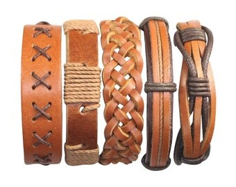5 Piece Mens Leather Bracelet Women's Braided Cuff Braclet  5P-557