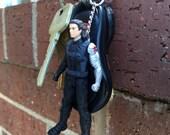 Marvel Avengers Bucky Barnes Un-Masked - Winter Soldier Mini-Figure Key Chain With Custom Gift Box