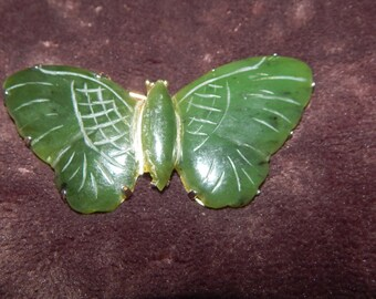 Vintage Carved Jade Green Butterfly Brooch Sterling Silver Green Large Butterfly Brooch