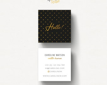 Dotty pattern business card, Square Business Card, Gold and Black, Business Card template, cute design, dots pattern card, gold name card