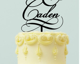 "Personalized Wedding Cake topper "" First Names with Ampersand"""