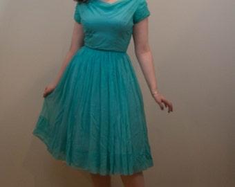 Early 1960s Seafoam Green Chiffon Party Dress