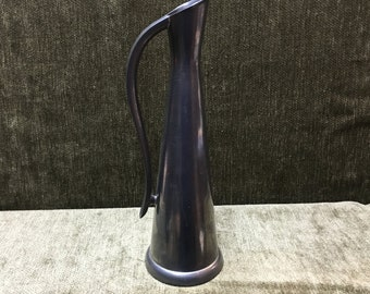 Pewter Pitcher, Pewter Ewer, Tall Slender Pewter Pitcher, Pewter Bud Vase, Made in Hong Kong, Pewter Carafe,