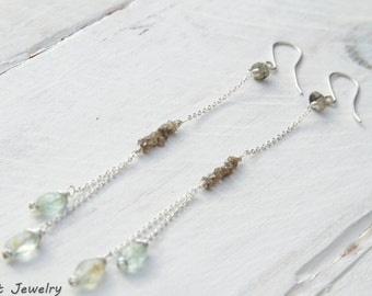 Delicate Diamond Chandelier Earrings/ Lovely Hanging Beryl Sterling Silver Earrings