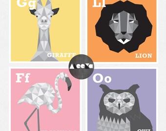 Geometric Animal Kids Prints