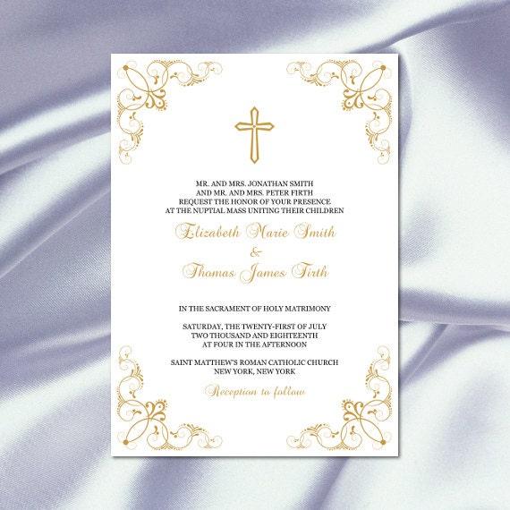 Catholic Wedding Invitation Template Diy Printable Gold Cross