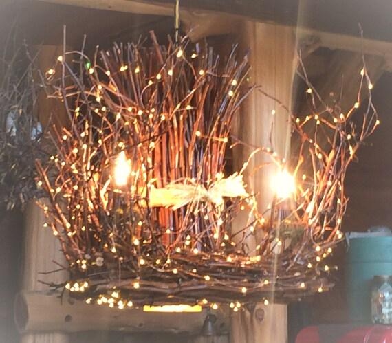 Rustic Handmade Light Fixture Twig Chandelier Branch: The Cascade 3 1 Candle Rustic Twig Light Chandelier