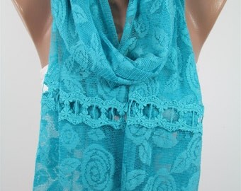 Lace Scarf Turquoise Scarf Shawl Wrap Blue Wedding Scarf Shawl Scarf Gift For Bride Bridesmaids Gifts Women Fashion Accessories Gift For Her
