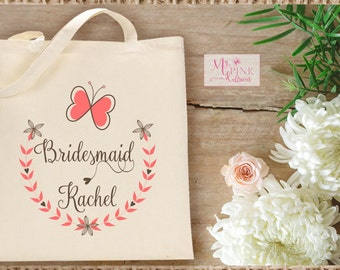 Butterfly Personalized Bridesmaid Wedding  Tote Bag  / Welcome bag